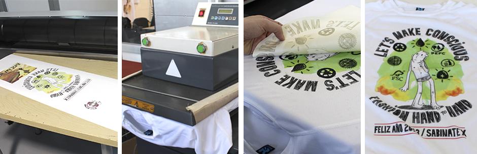 Se imprime el diseño a estampar con una impresora o plotter cargado con  tintas especiales sobre un papel que no absorbe esas tintas. 8d94432f888