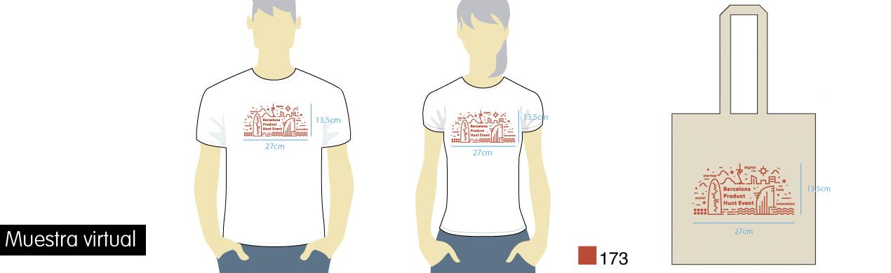 Muestra virtual para personalizar camisetas y bolsas