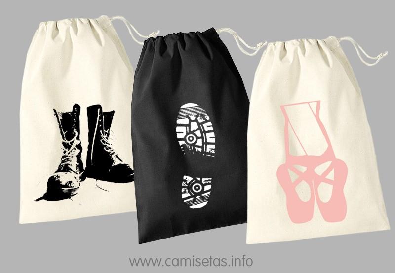 981bc5092 Podéis hacer bolsas de algodón para calzado personalizadas con vuestro  diseño en serigrafía textil. Un mismo diseño se puede utilizar en bolsas de  diferente ...
