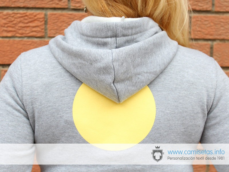 Screen printing on hooded sweatshirts.